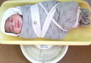 Newborn baby girl delivered by A4T Midwife at Health Post, Wardak Prov. in Oct. 2014